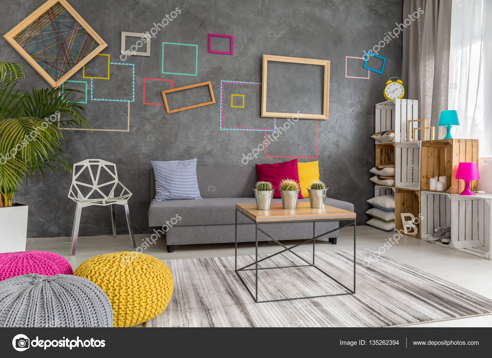 Grey, Yellow And Pink Living Room U2014 Stock Photo