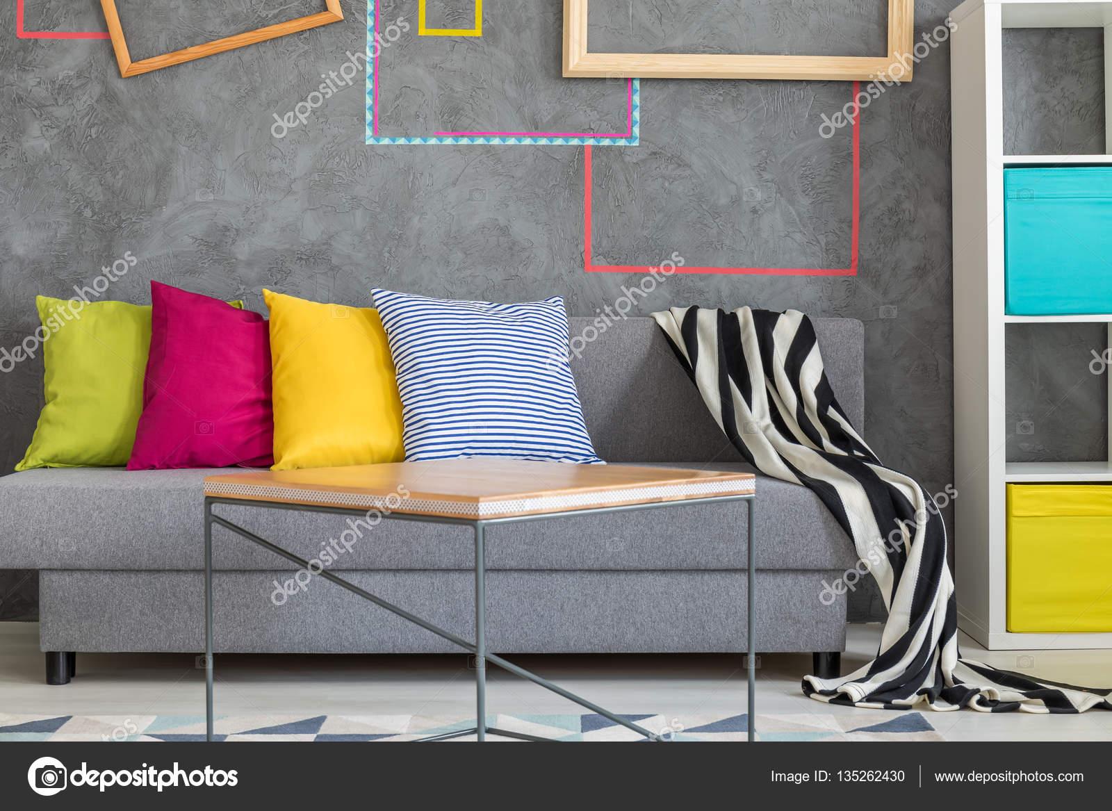 Divano Cuscini Colorati.Grey Sofa With Colorful Pillows Stock Photo C Photographee Eu
