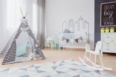 Neutral nursery in scandinavian style