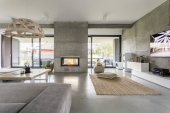 Fotografie Spacious villa with cement wall
