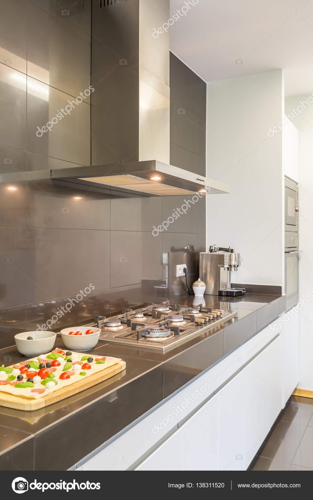 Projeto Da Cozinha De A O Com Fog O Fotografias De Stock