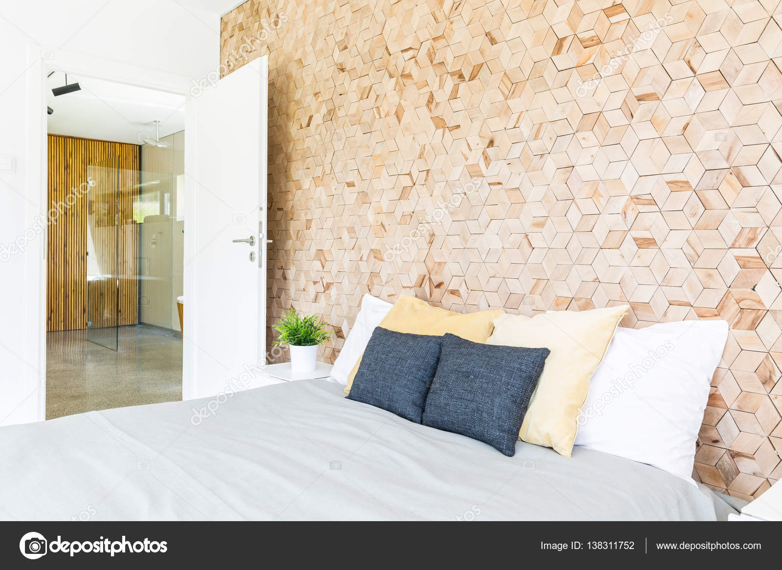 Bedroom with wooden mosaic wall — Stock Photo © photographee.eu ...