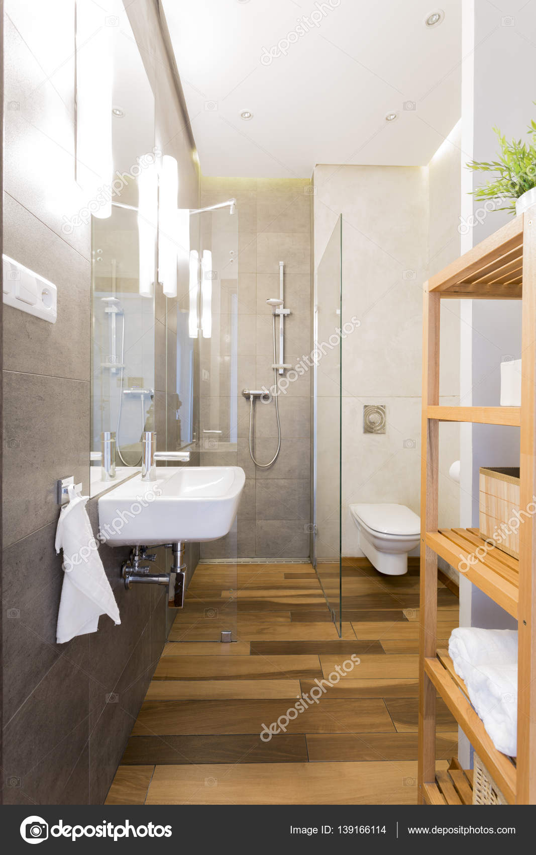 Narrow Loft Bathroom With Wooden Floor Stock Photo 139166114