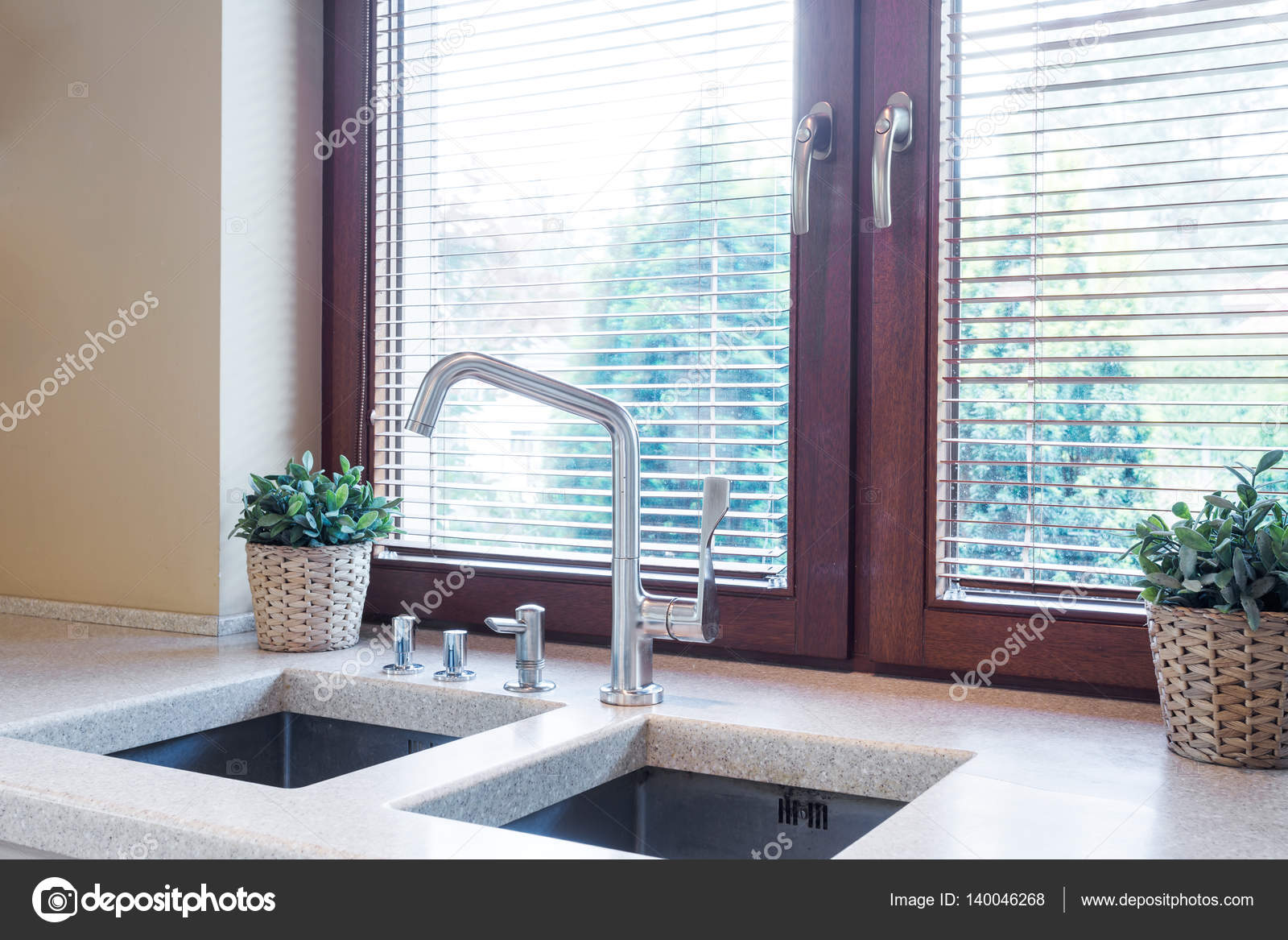 Kitchen tabletop with two sinks — Stock Photo © photographee.eu ...