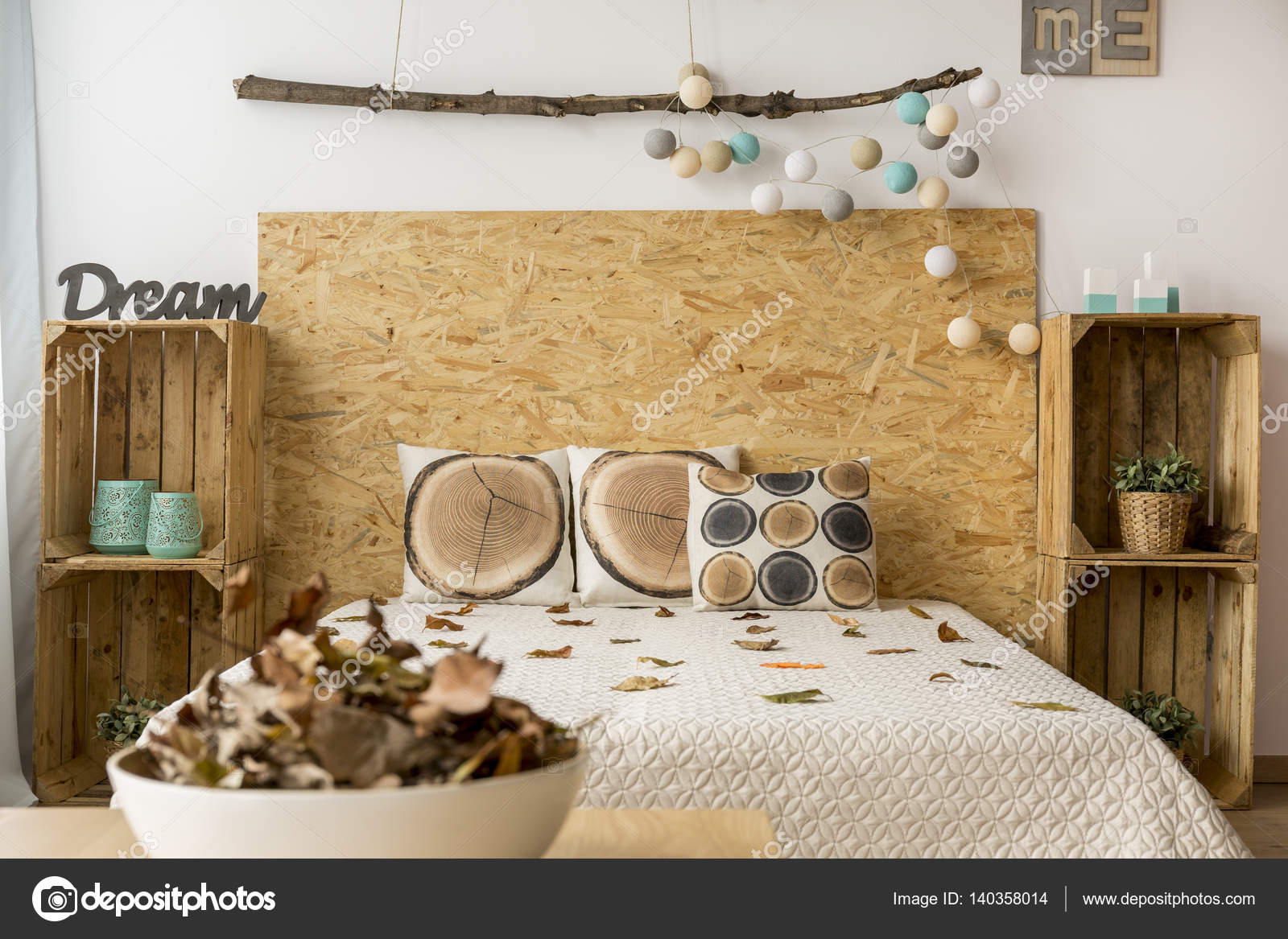 Comfortable Bed With DIY Bedside Cabinets U2014 Stock Photo