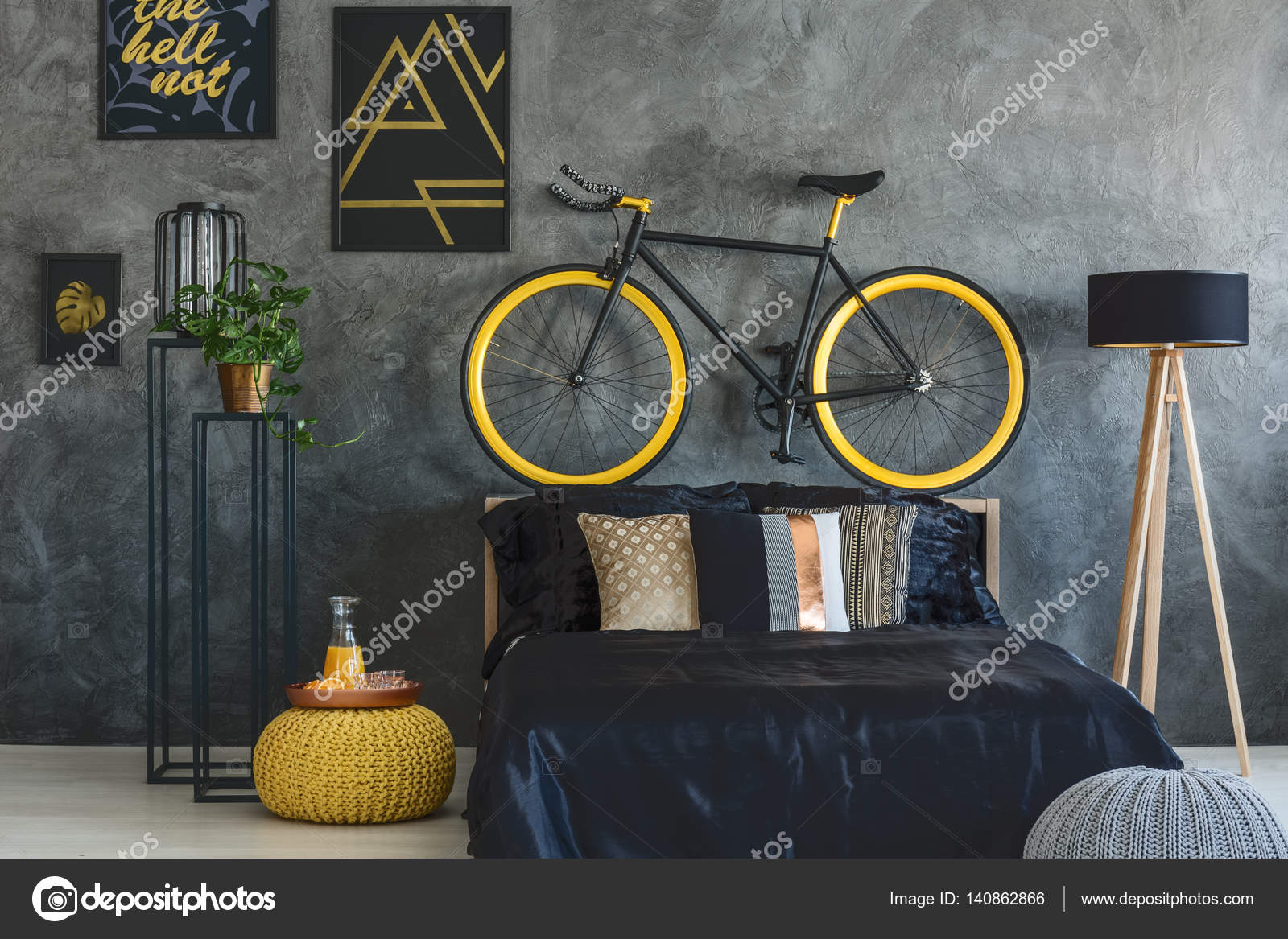Trendy Bedroom With Wall Posters U2014 Stock Photo #140862866