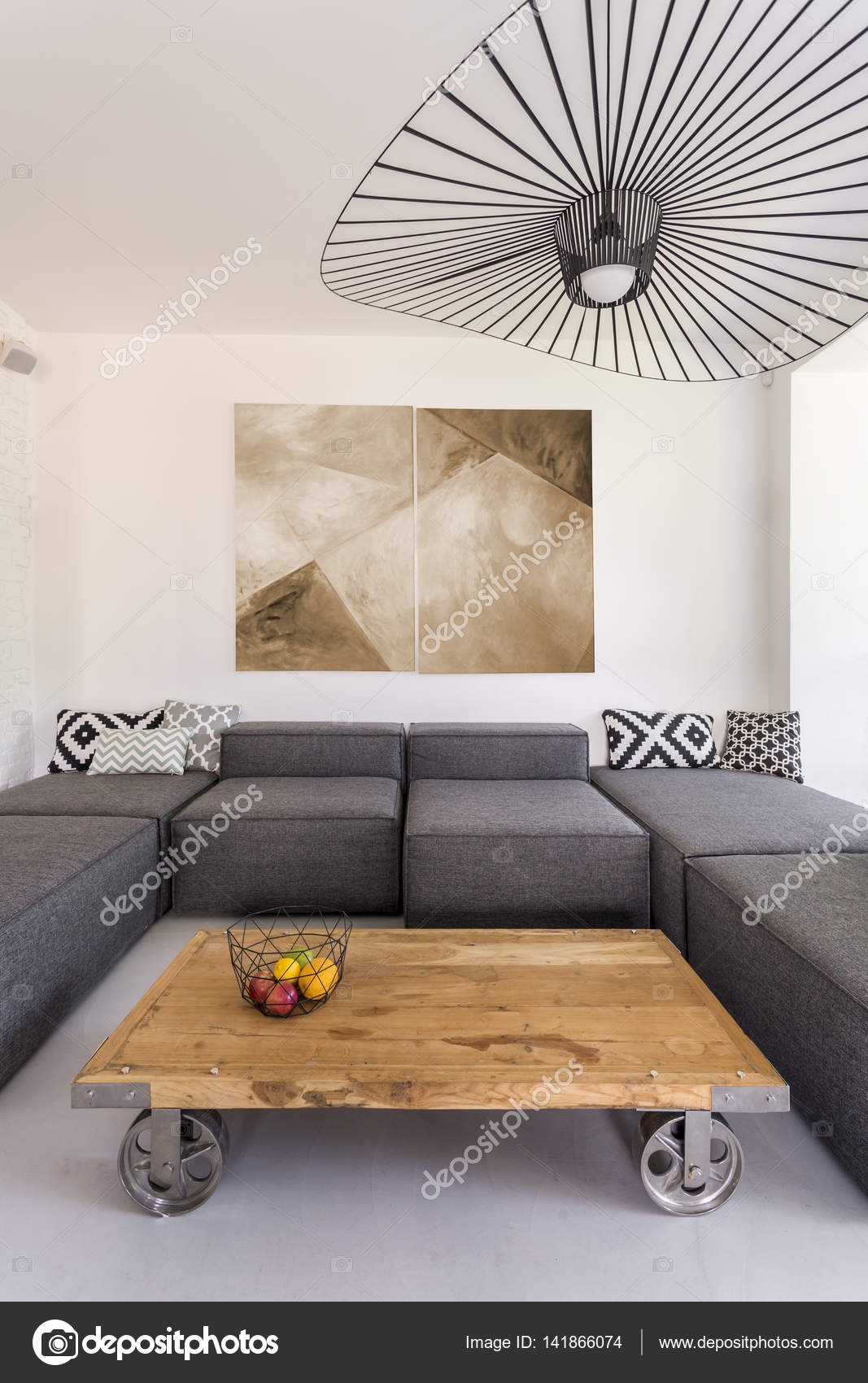 Modern Lounge Room With Massive Wooden Coffee Table On Wheels Photo By Photographee Eu