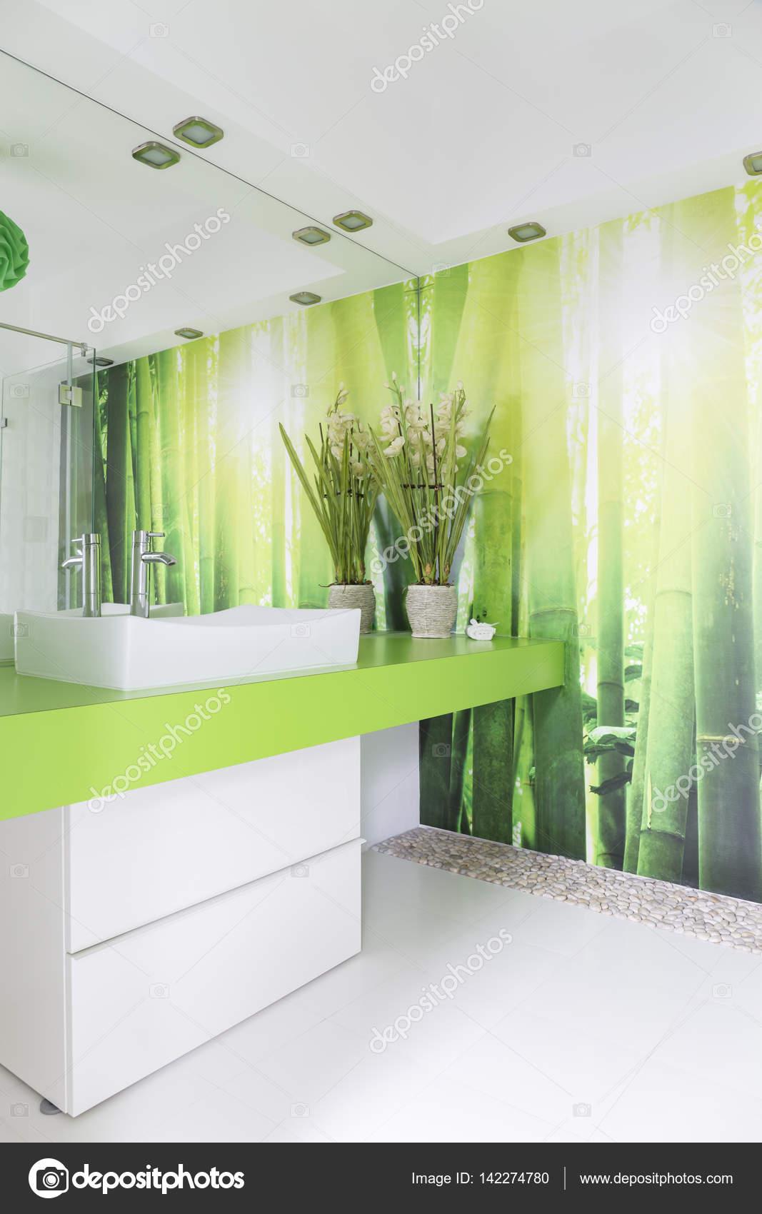Salle de bain blanc et vert — Photographie photographee.eu ...