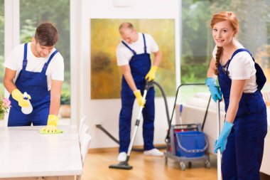 Professional cleaners in living room