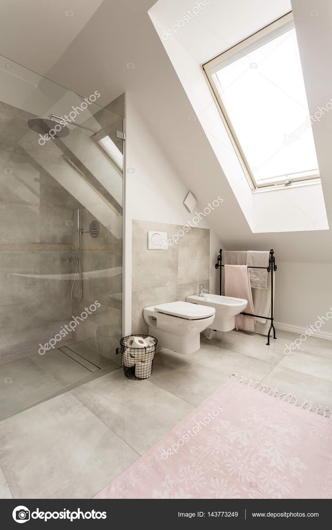 Geraumiges Badezimmer Mit Dusche Aus Glas Stockfoto C Photographee