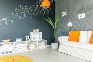 Light living room with yellow accessories
