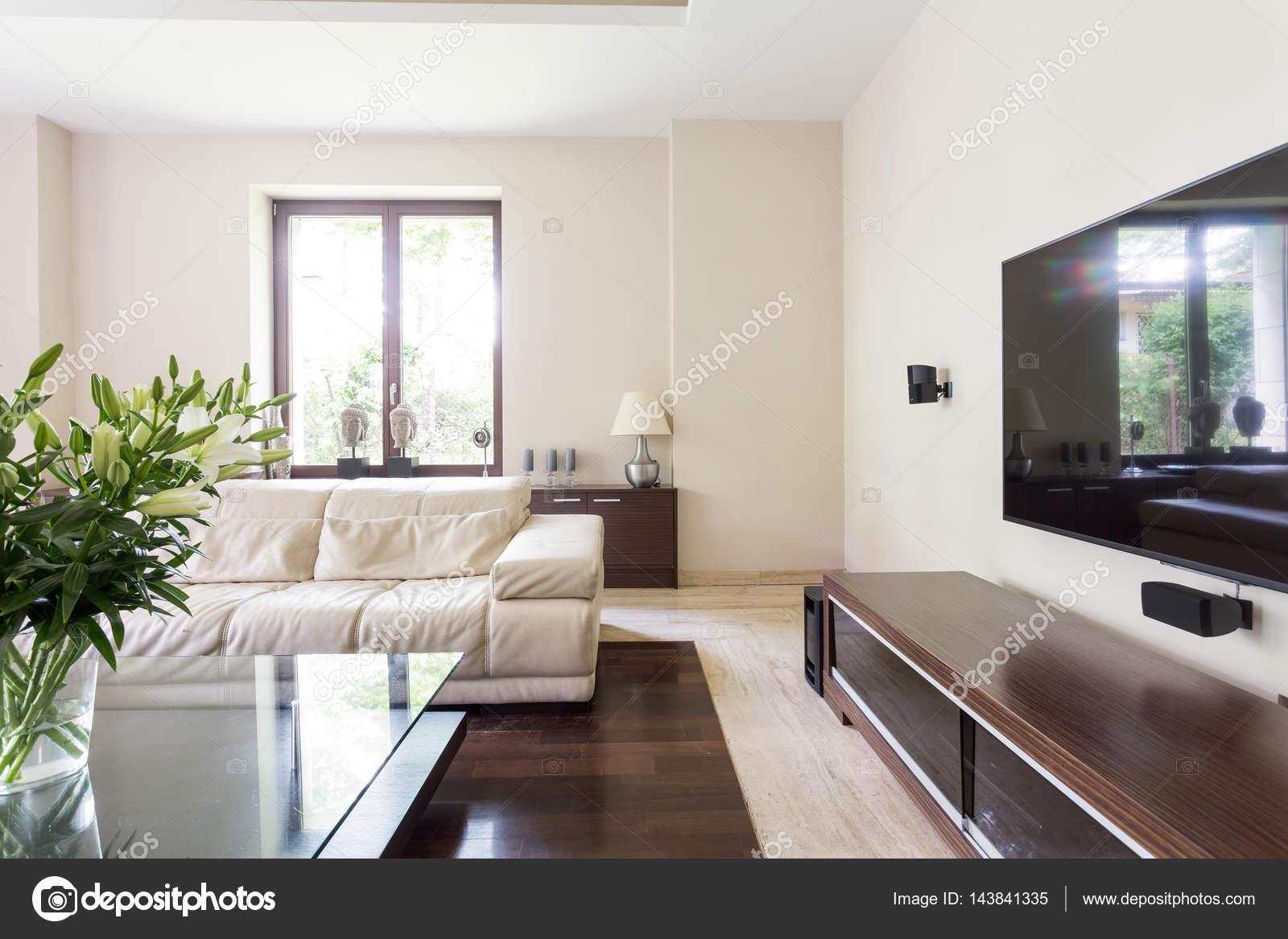 Elegante Und Gemütliche Wohnzimmer Mit Weißen Couch, Glastisch Und Großen  TV Bildschirm U2014 Foto Von Photographee.eu