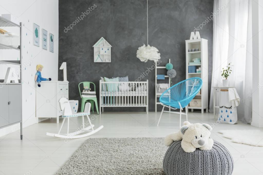 Child room with grey pouf