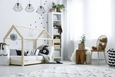 Scandi child bedroom with window
