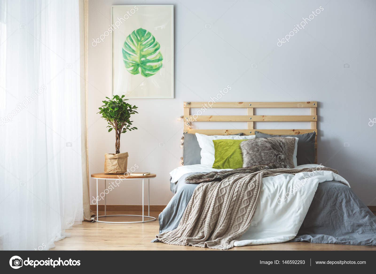 pastel slaapkamer interieur stockfoto