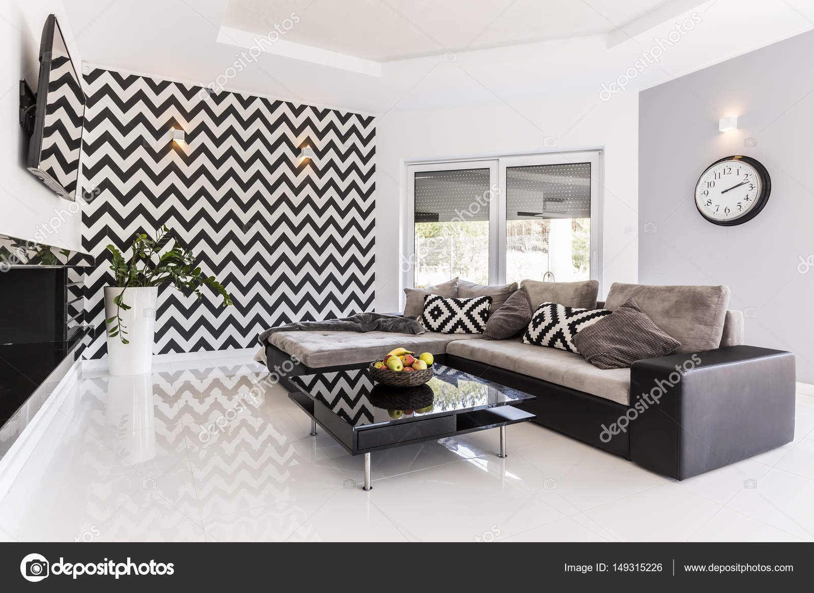 Posh woonkamer in zwart-wit — Stockfoto © photographee.eu #149315226