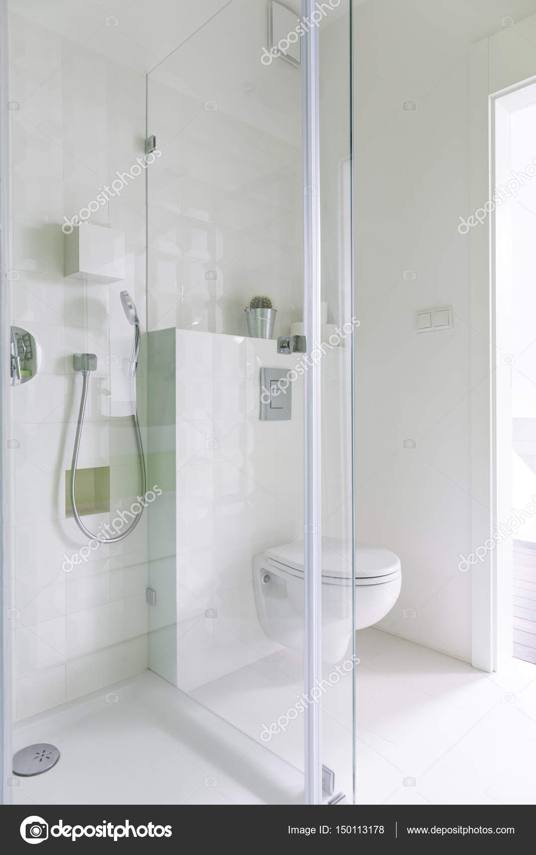 Bathroom with glazed shower — Stock Photo © photographee.eu #150113178