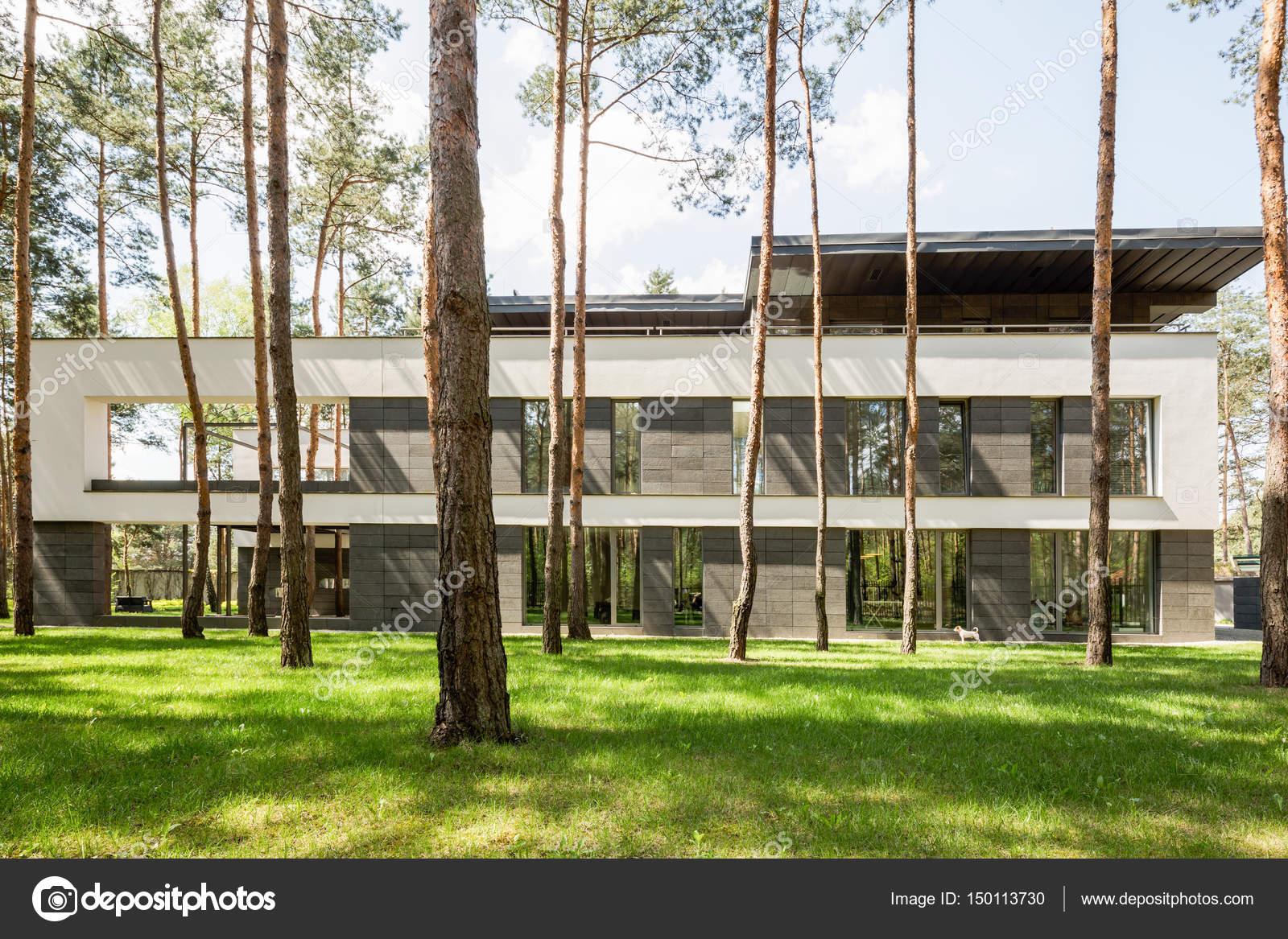 Großes Modernes Haus Außen Mit Panoramafenster Und Terrasse Im Wald U2014 Foto  Von Photographee.eu