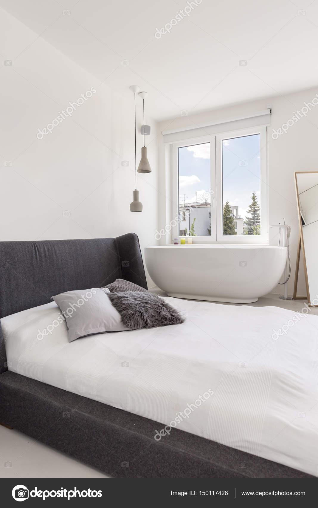 Moderne Minimalistische Schlafzimmer Und Bad U2014 Stockfoto