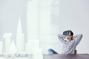 Architect using vr headset