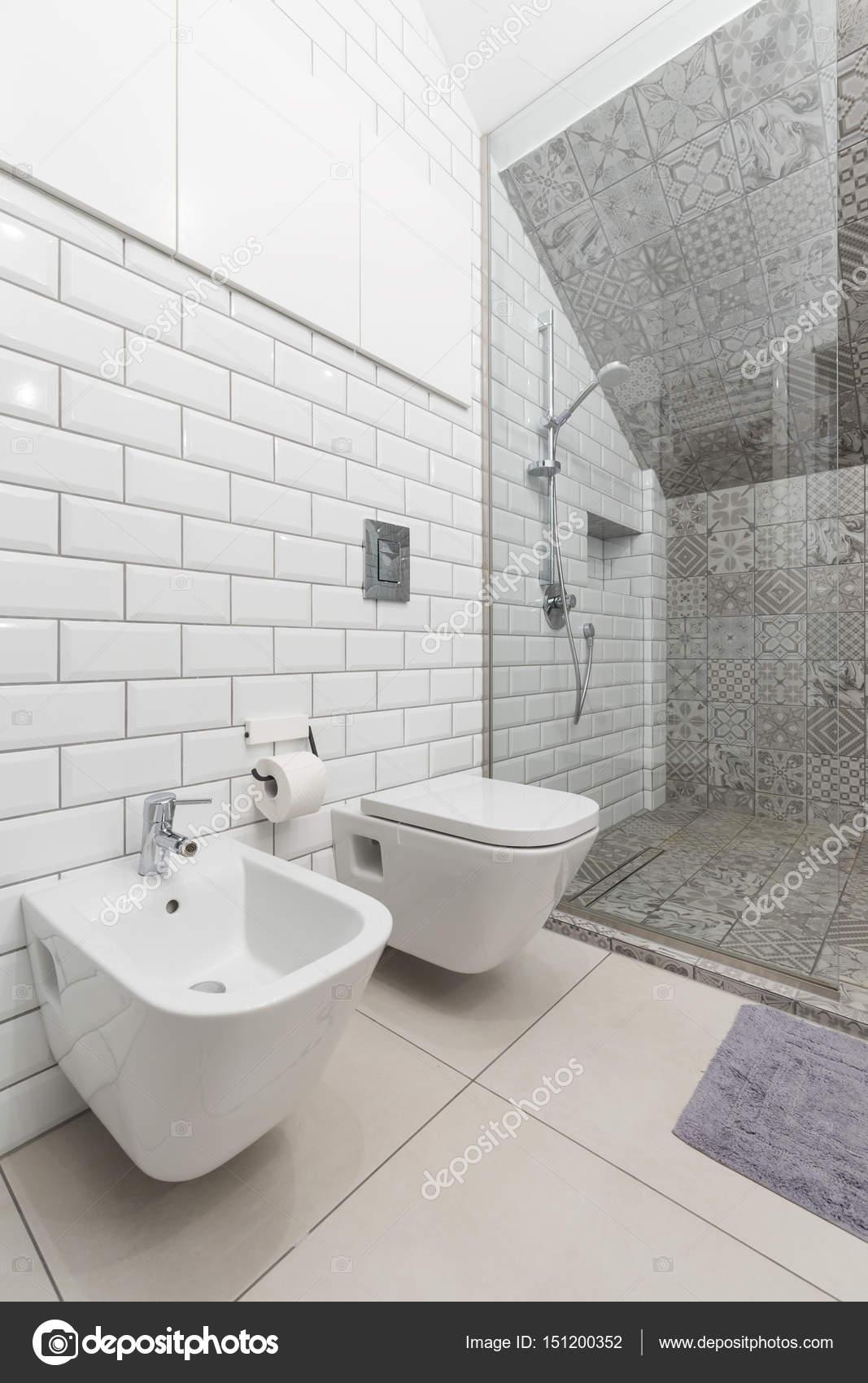 Biala Lazienka Z Toaleta I Prysznicem Zdjecie Stockowe