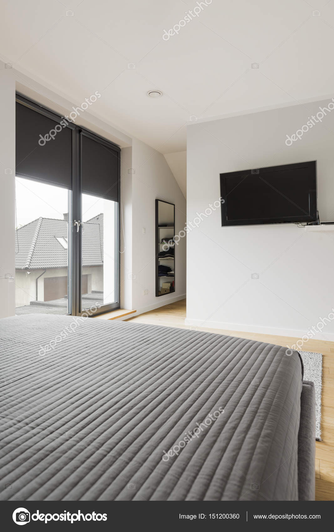 Lovely Moderne Schlafzimmer Mit Bett Und Tv U2014 Stockfoto
