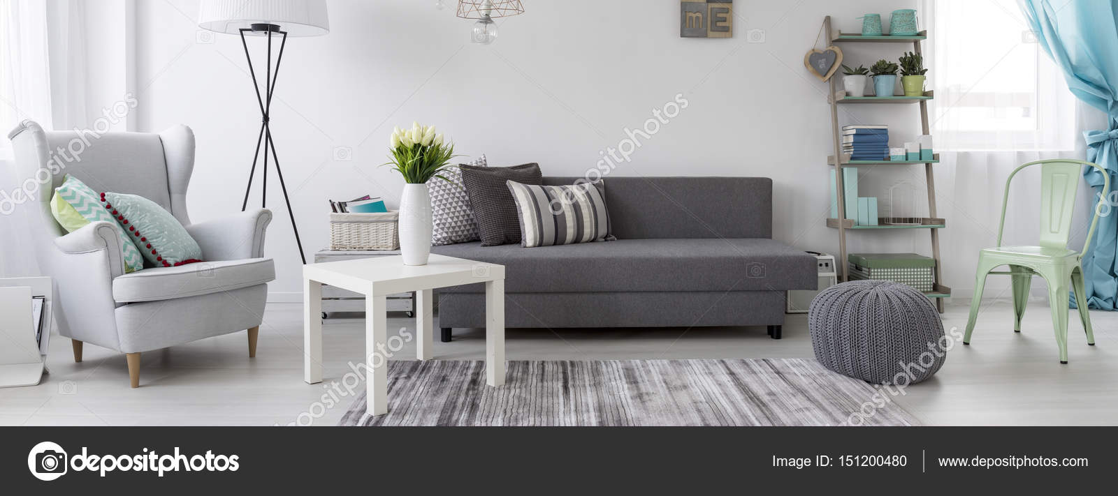 Wohnzimmer Im Skandinavischen Stil Idee Stockfoto Photographee