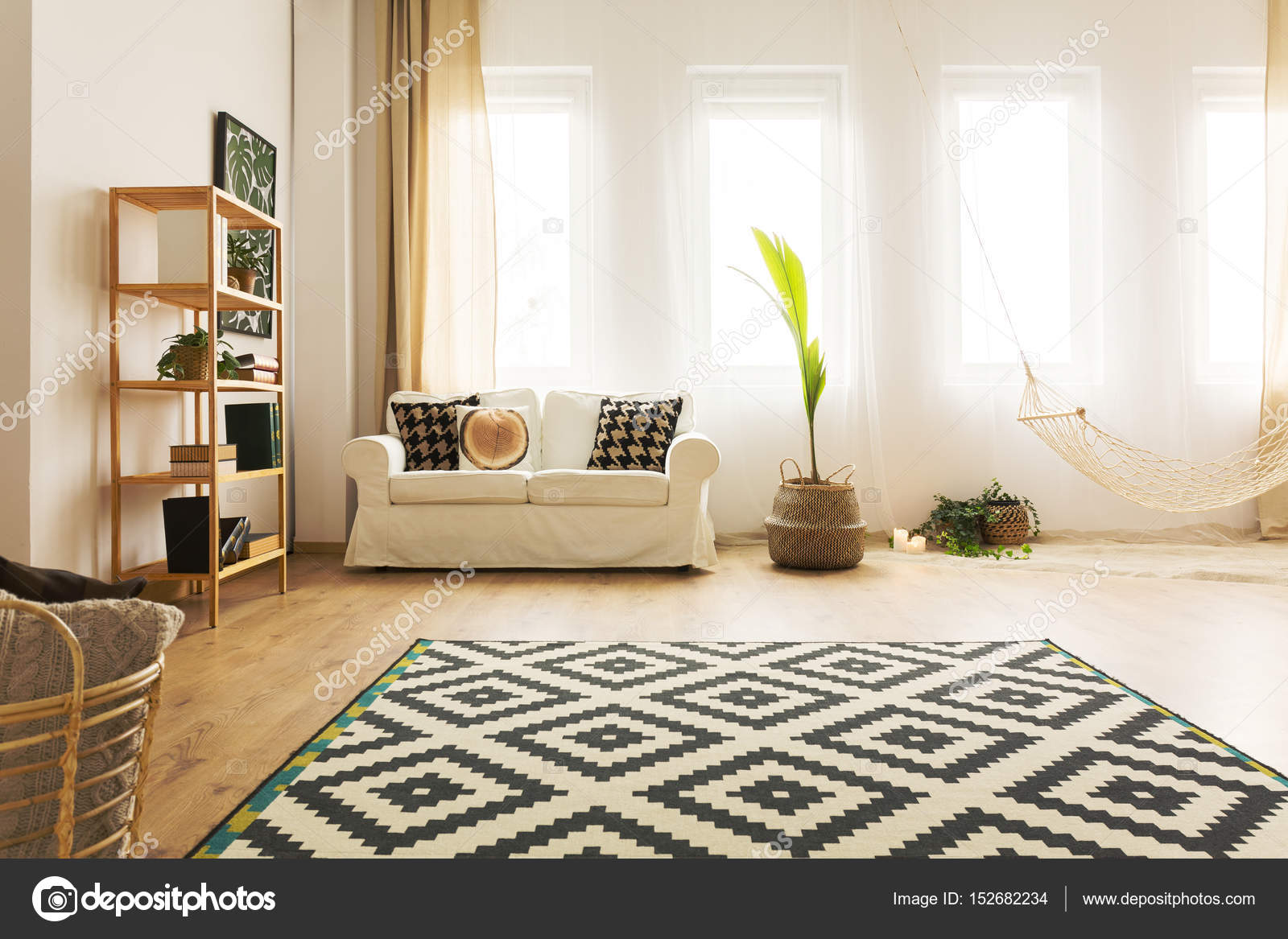 Beeindruckend Moderne Wohnlandschaft Galerie Von Mit Hängematte — Stockfoto