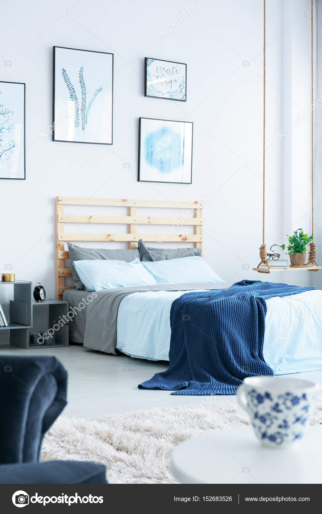 Navy blue bedroom stock photo