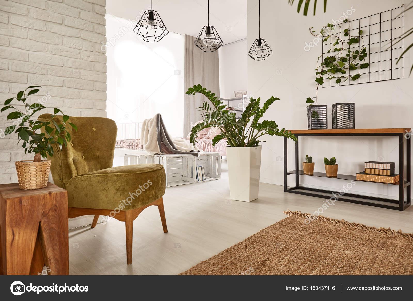Wohnzimmer Mit Holzmöbeln U2014 Stockfoto