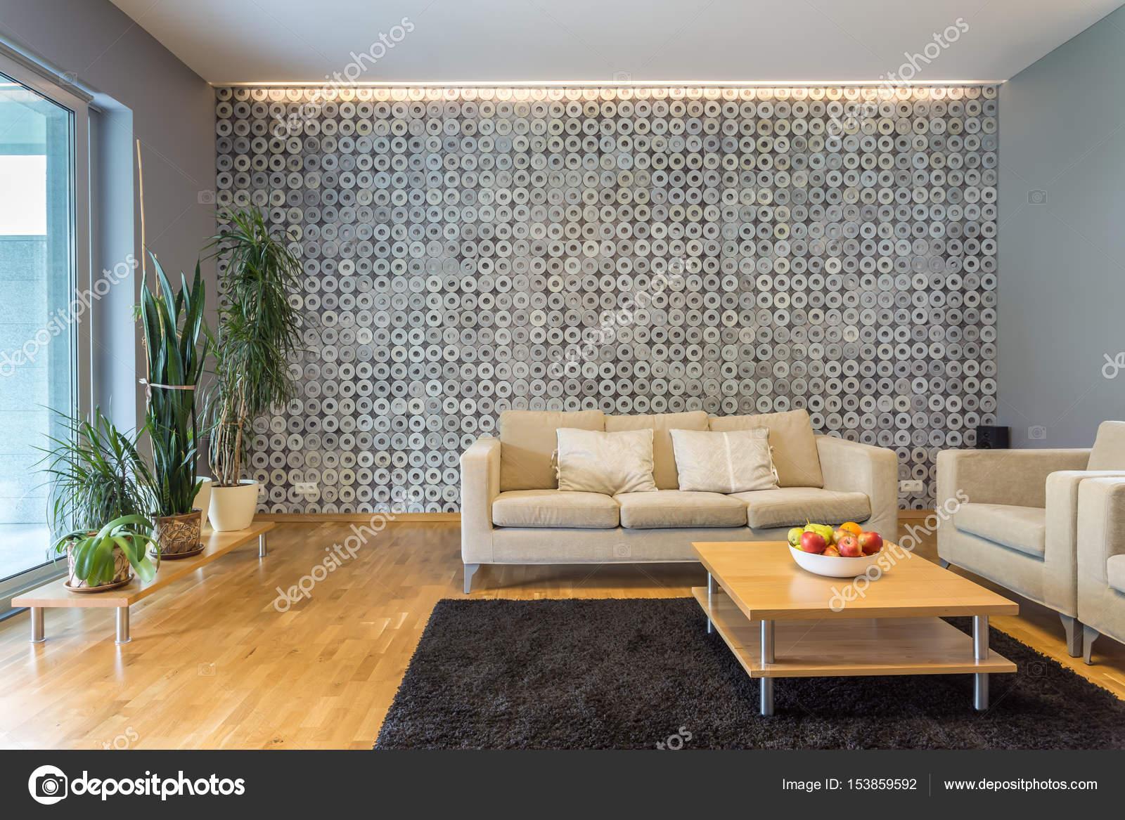 Woonkamer met moderne verlichting — Stockfoto © photographee.eu ...
