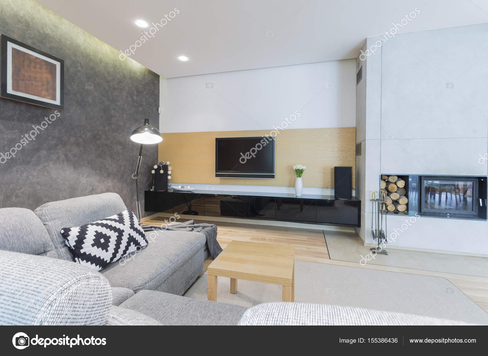 Geräumiges Wohnzimmer Mit Tv, Kamin Und Sofa U2014 Foto Von Photographee.eu