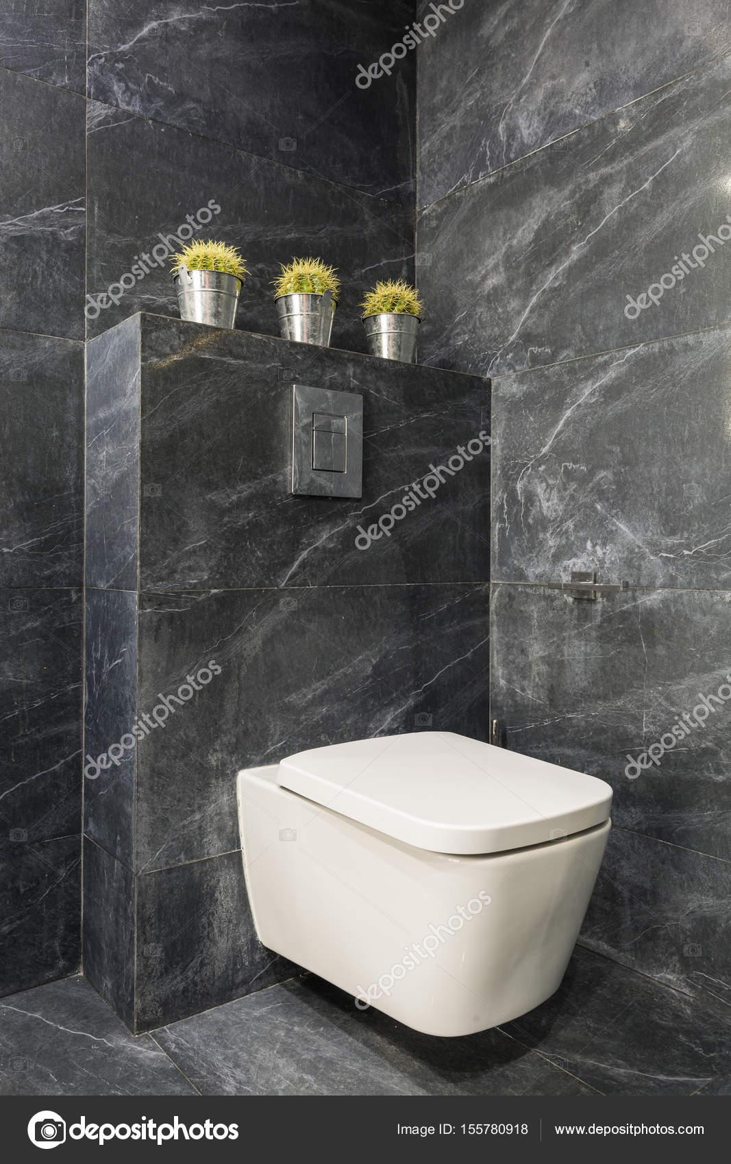 Bagno Moderno Grigio Con Toletta Bianca Foto Stock Photographee