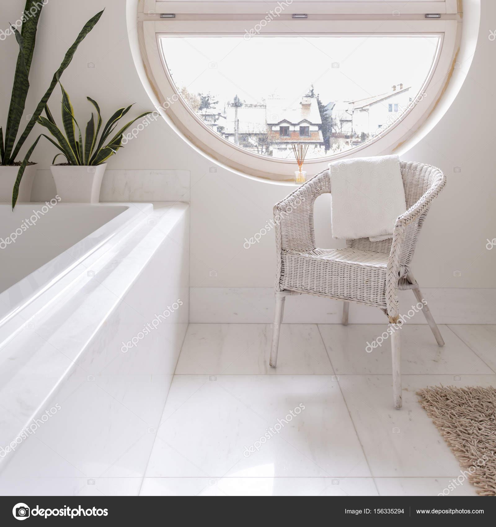 Spacious White Bathroom With Round Window U2014 Stock Photo