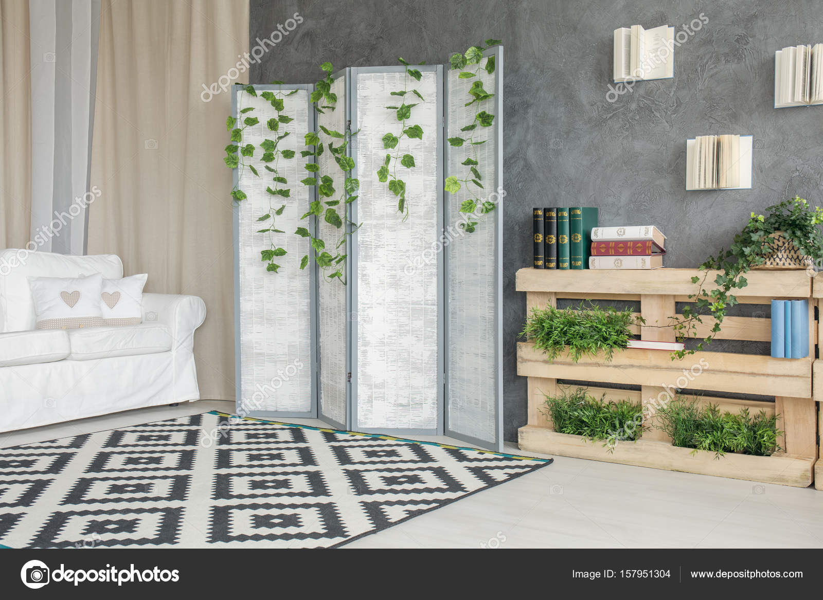 Zimmer Mit Raumteiler Stockfoto Photographeeeu 157951304