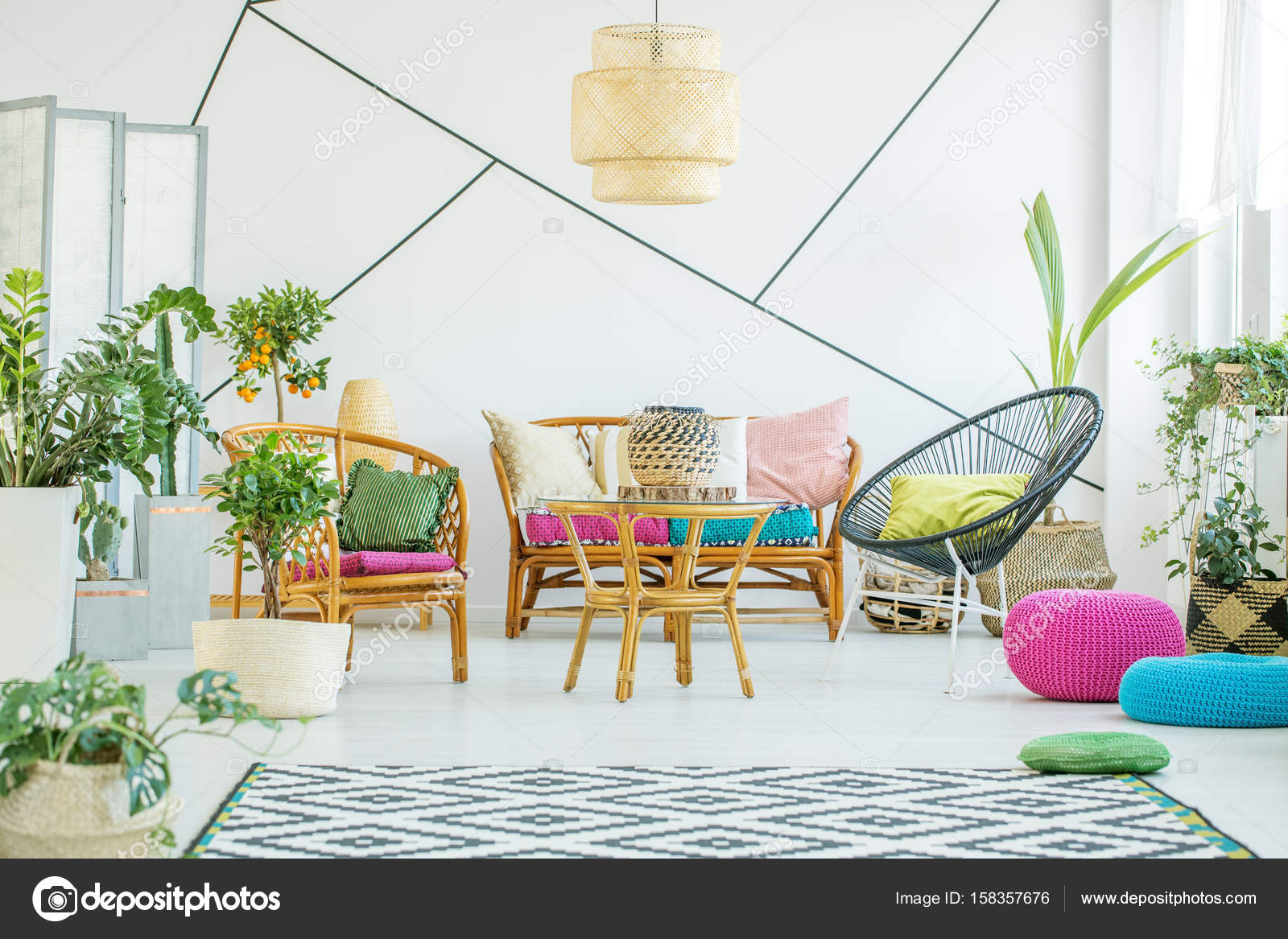 Living Room With Colorful Poufs, Plants And Decorative Tape On The Wall U2014  Photo By Photographee.eu