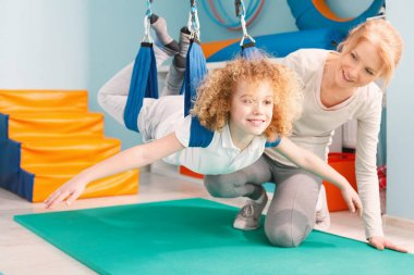Boy during sensory integration therapy