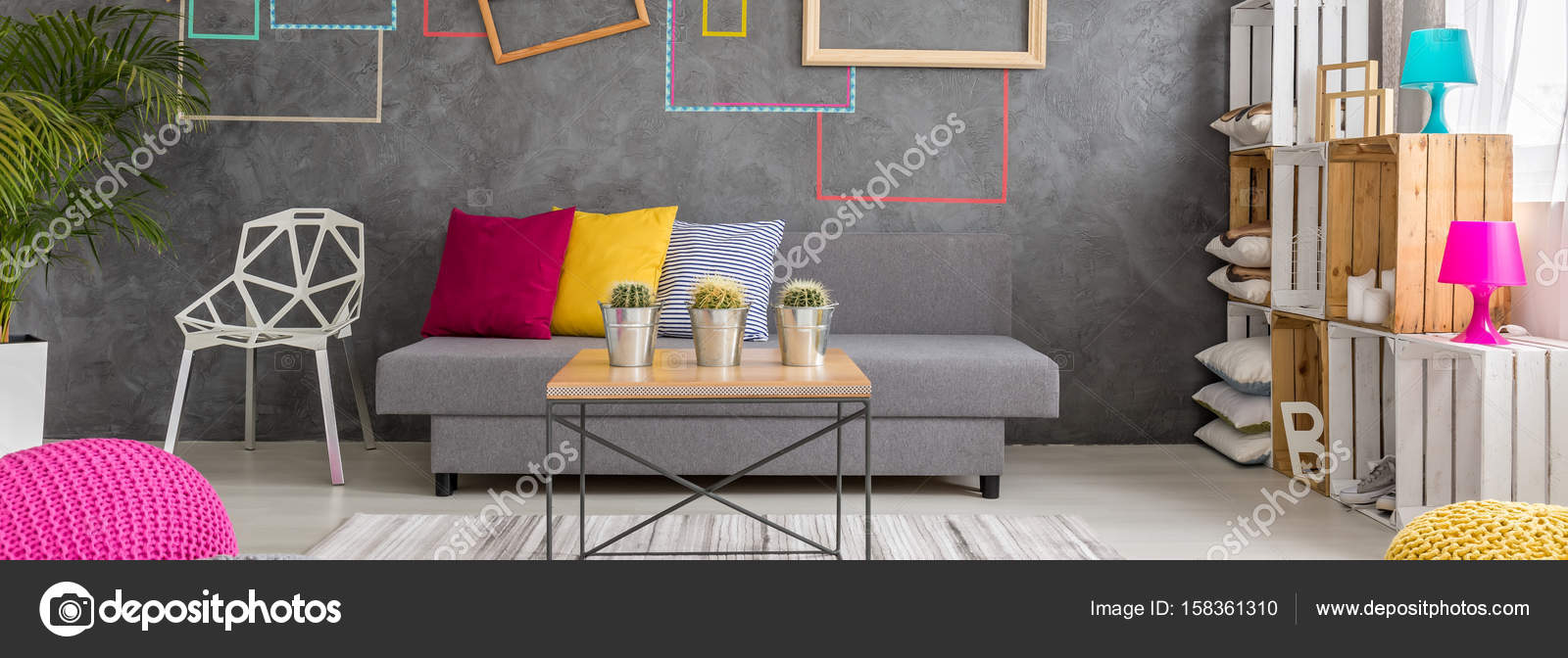 Kreative Wohnzimmer Dekor — Stockfoto © photographee.eu #158361310