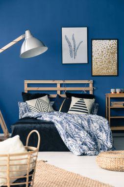 Stylish cyan bedroom