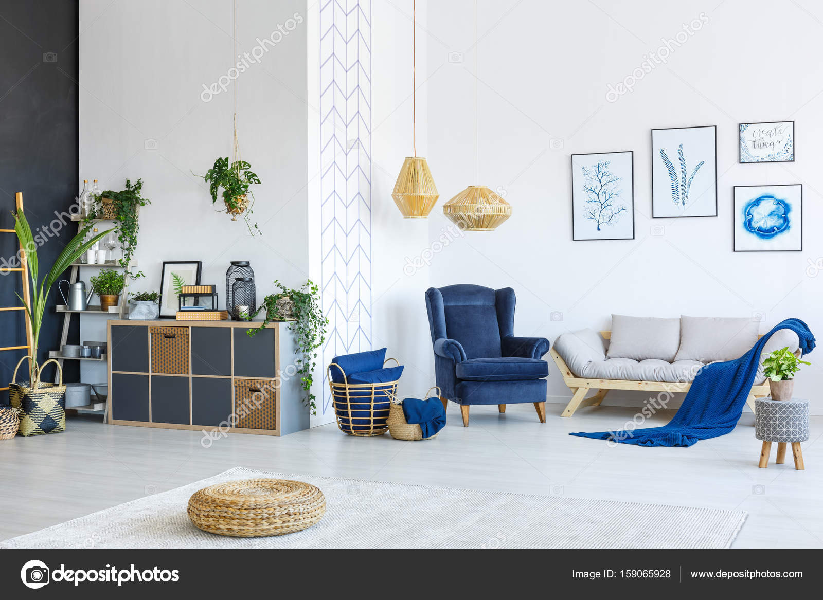 wit en blauw woonkamer — Stockfoto © photographee.eu #159065928