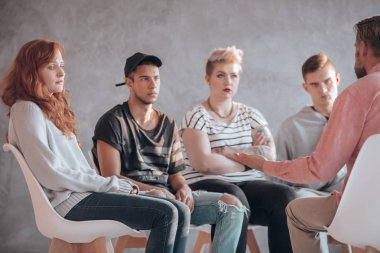 Troubled youth having therapy