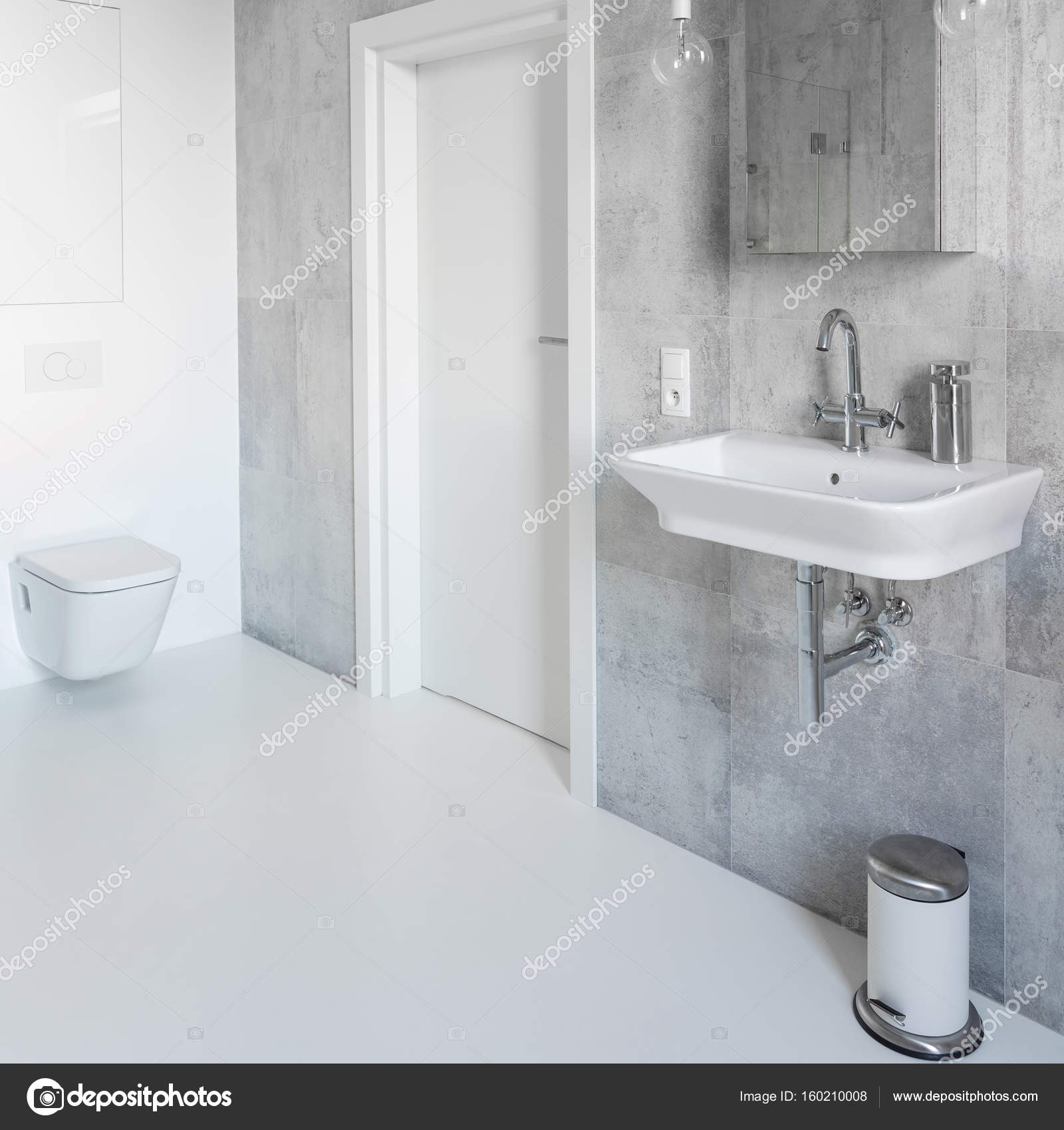 spacious all white bathroom. Spacious Gray And White Bathroom \u2014 Stock Photo All O