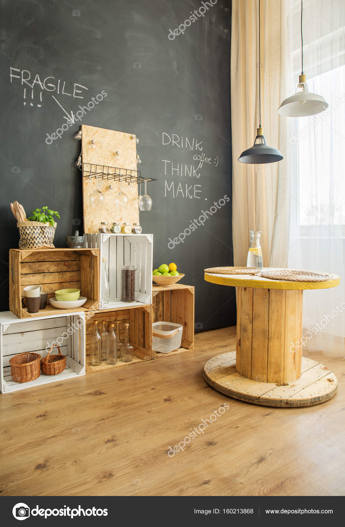 diy m bel aus kisten und kabel hocker stockfoto 160213868. Black Bedroom Furniture Sets. Home Design Ideas