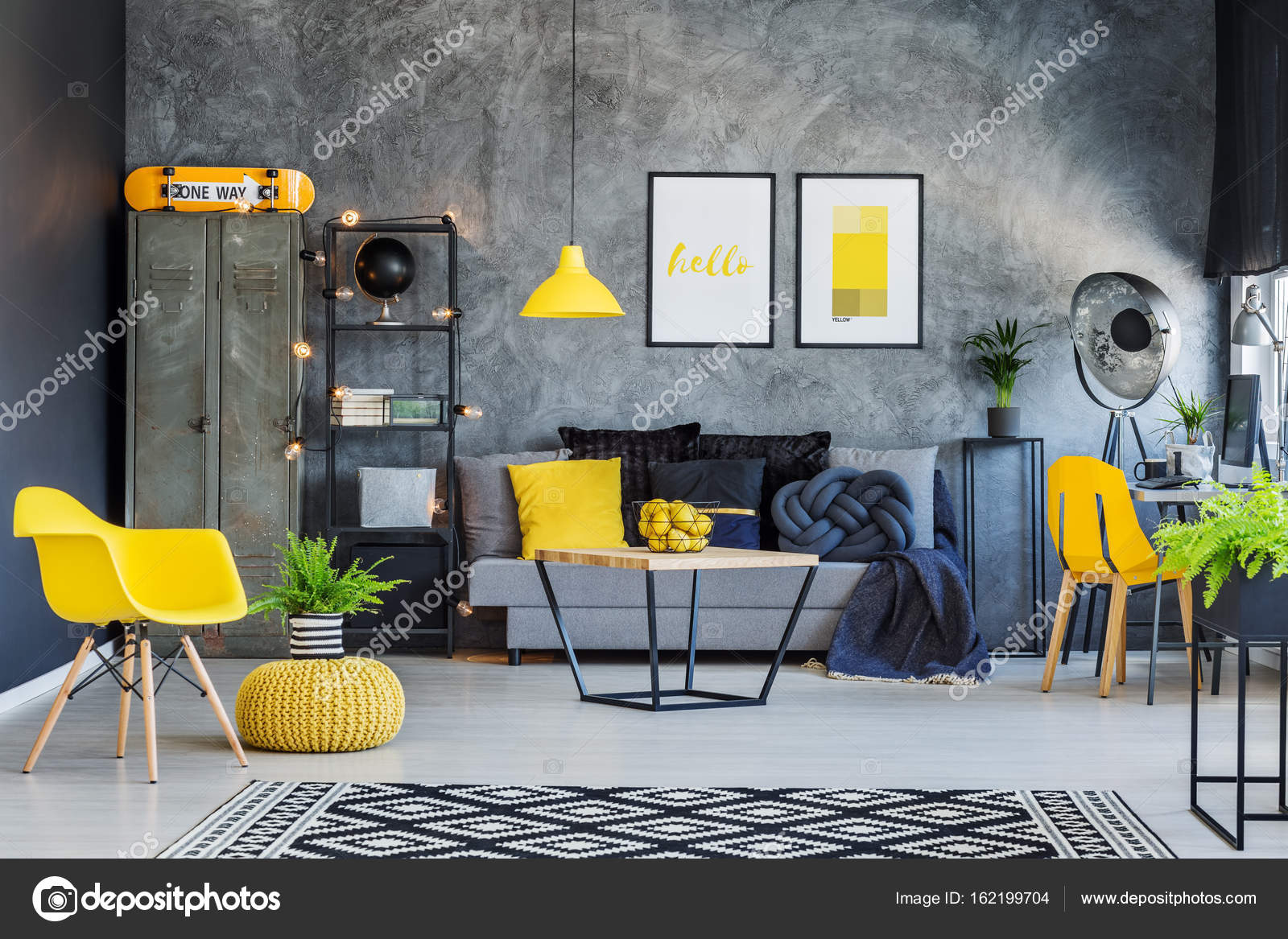 Creative Office Interior With Gray Couch, Yellow Accents And Metal Furniture  U2014 Photo By Photographee.eu