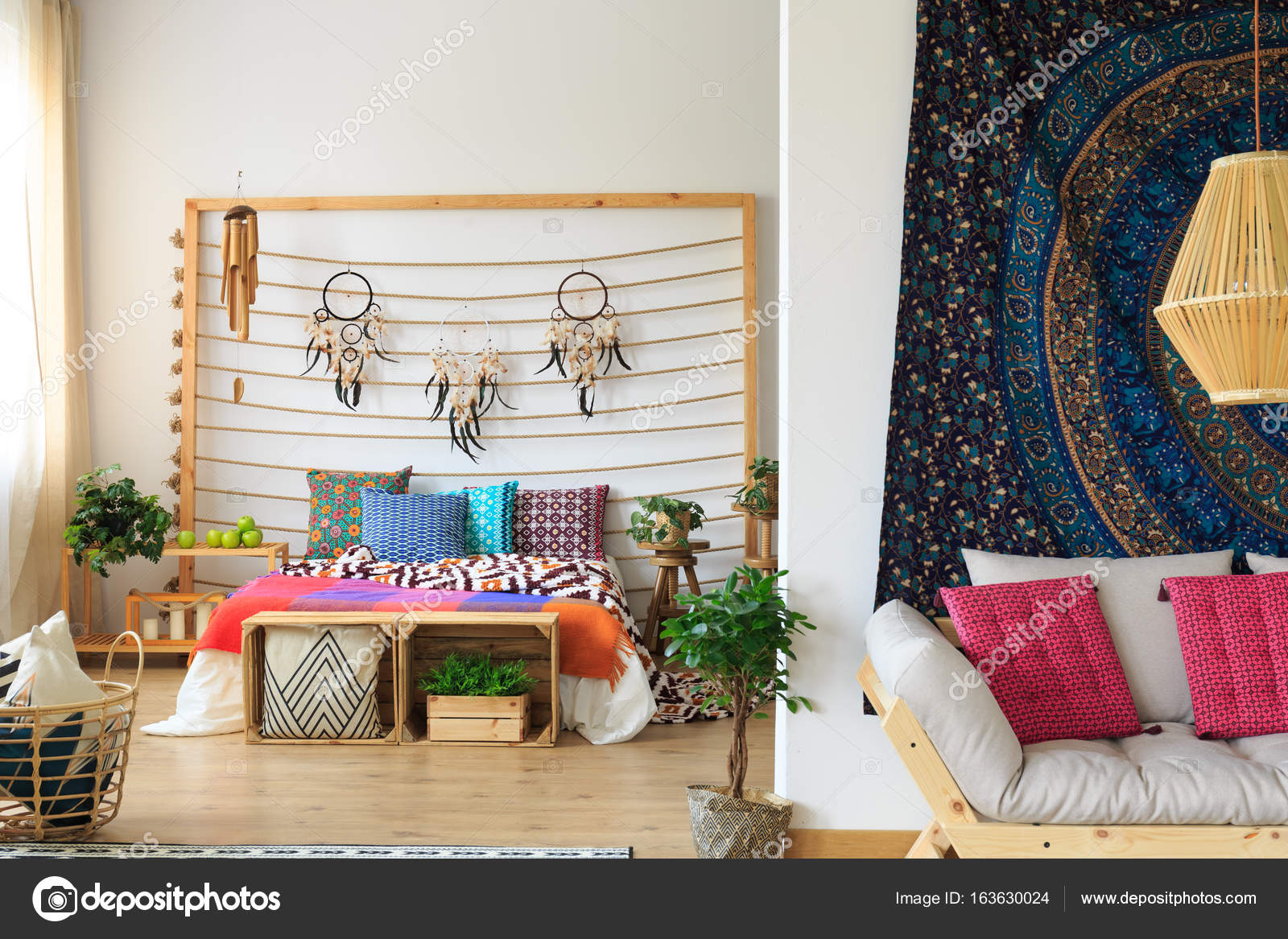 Schlafzimmer Bunt bunte schlafzimmer mit dreamcatcher dekoration — stockfoto