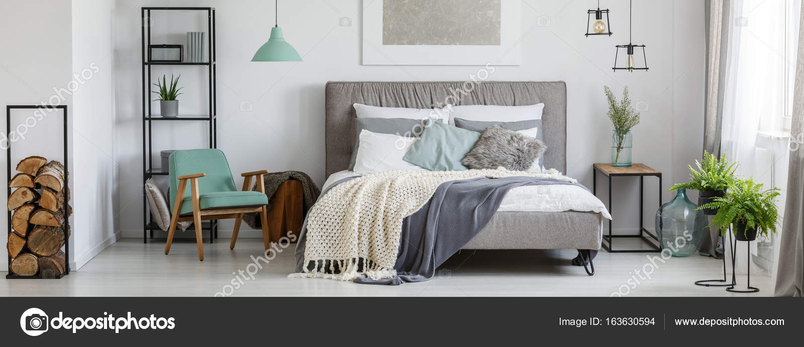 Cozy mint and grey bedroom — Stock Photo © photographee.eu ...