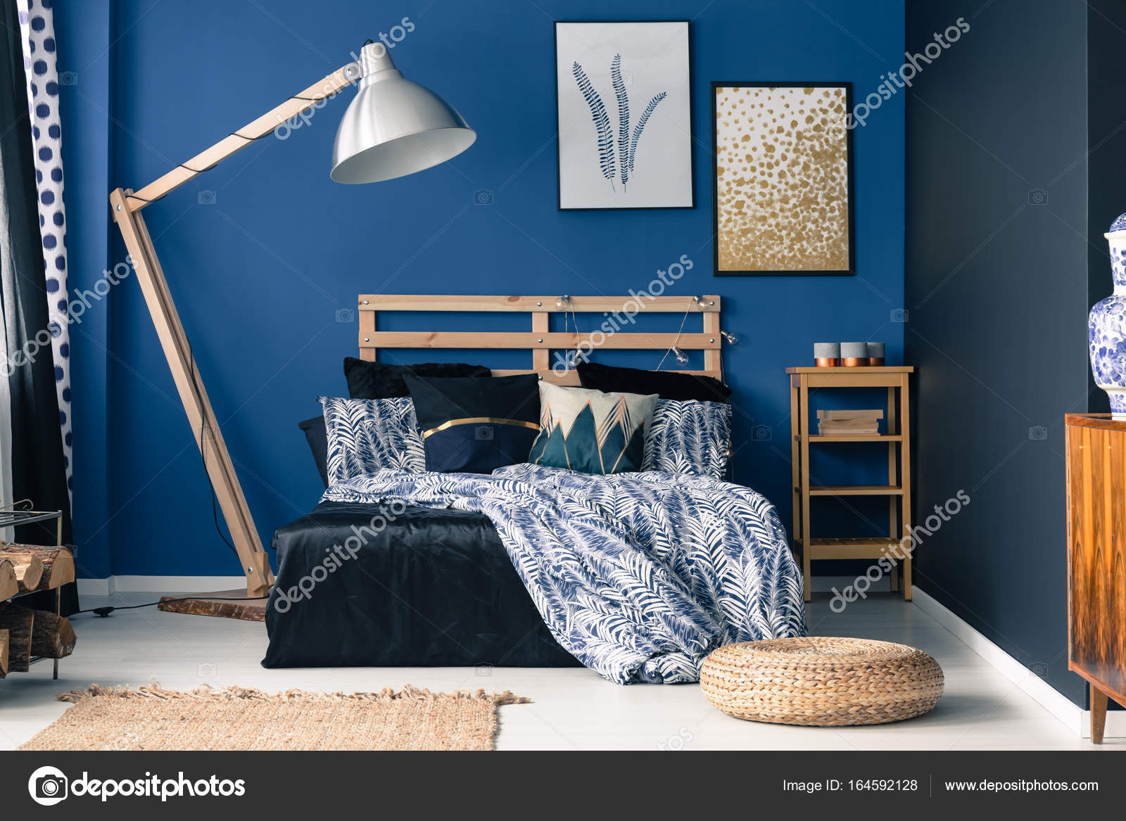 Hervorragend Blaue Schlafzimmer, Hauch Von Gold U2014 Stockfoto