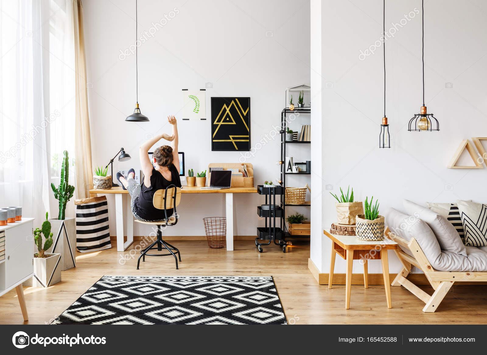 Cozy natural apartment with desk — Stock Photo © photographee.eu ...