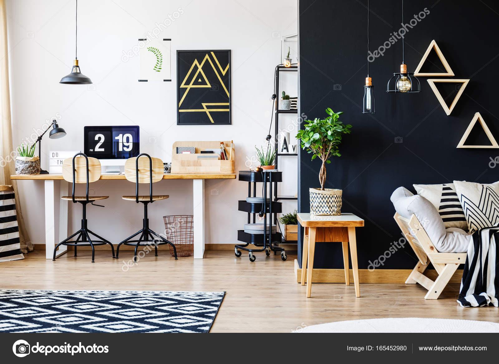 Schwarz Weiß Nordischen Wohnung Stockfoto Photographeeeu
