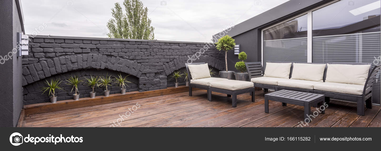 Rooftop Terrace With Wooden Flooring U2014 Stock Photo
